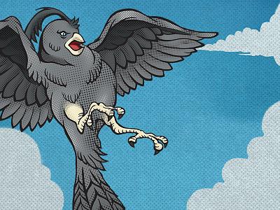 Bayside Bird Illustration superhero illustration sky halftone comic book comic bird say anything bayside