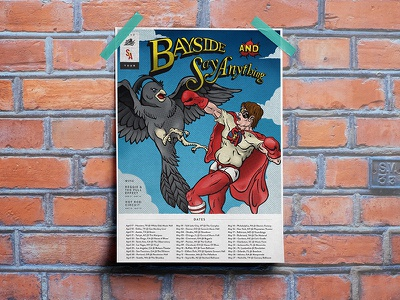 Say Anything + Bayside Poster Full punch fly superhero illustration sky halftone comic book band poster tour poster say anything bayside
