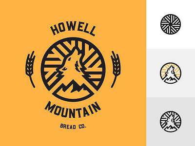 Howell Mountain Bread Co geometric retro badge mountain wolf howl wheat bread