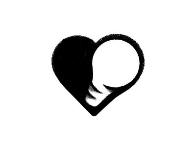 Light Bulb + Heart Logo Sketch shadow negative space logo light bulb idea medical health