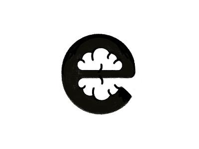 E Brain Logo Concept logo negative space tech smart brain letter e