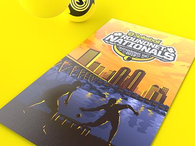 Spikeball Nationals Poster colorful travel nationals tournament city bridge virginia richmond illustration vector poster spikeball