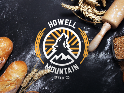Howell Mountain Bread Co Logo rustic icon brand logo vintage retro badge baking wheat flour bakery bread howl wolf