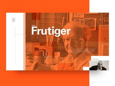 Web biography concept orange user interface biography dailyui ui web design adrian frutiger frutiger