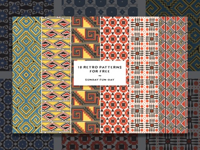 18 Free Retro Patterns pattern art background free download freebies freebie vintage retro aztec pattern design pattern
