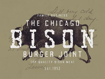 Bison Burger Joint - Logo Mockup texture vintage logo vintage design vintage lettering typography font design type design font logo design design logo