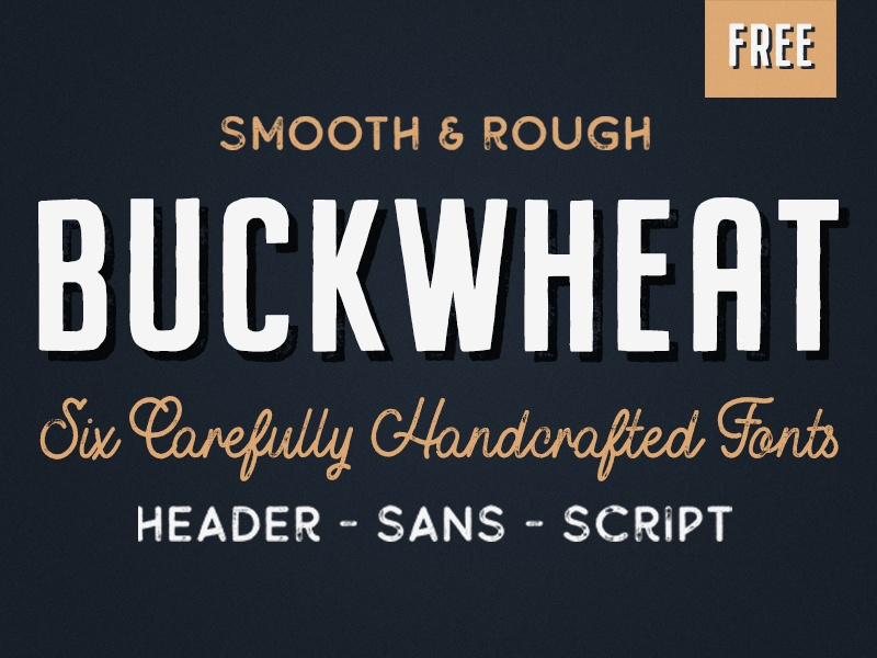 6 Free Vintage Fonts - The Buckwheat Font Family by Tom Chalky on