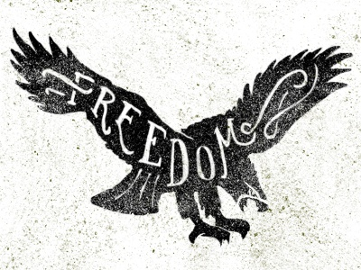 Freedom typography illustration