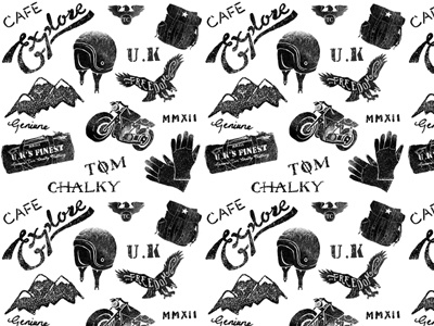 Tissue Wrapping Paper for Products logo design branding typography illustration cafe racer motorcycle
