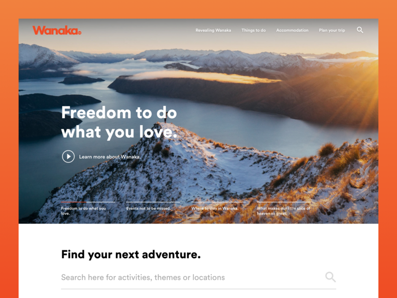 Wanaka Tourism Redesign uxdesign uidesign uxui uiux ux web design new zealand ui motivation blanche nick blanche nickblanchecreative design nickblanche