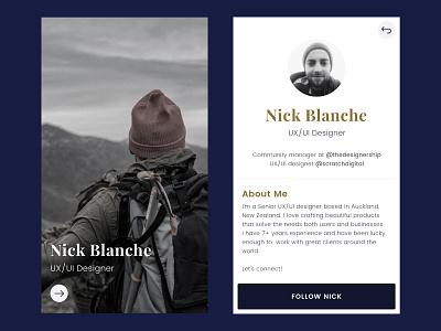 Daily Design 007 - Profile 007 profile 007 nick blanche daily ui