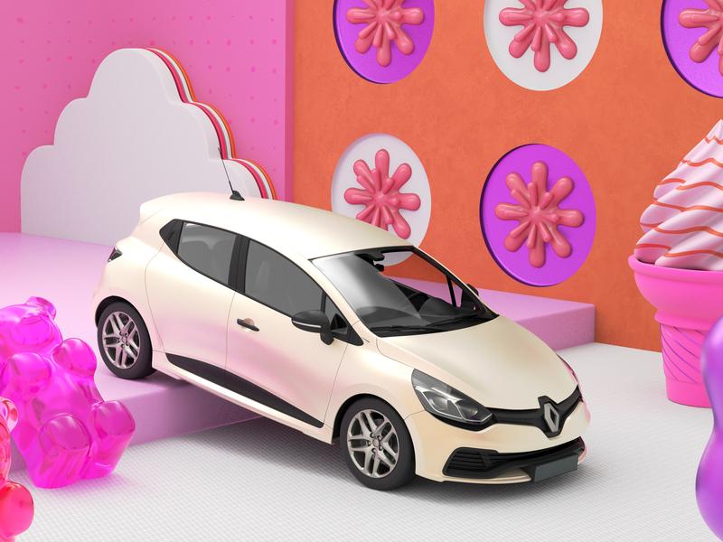 Renault Clio #2 arnold car illustration geometry 3d render design cinema4d c4d