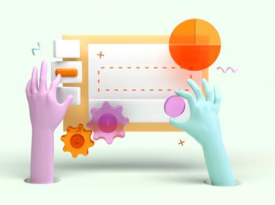 Putting together software 3d hands collaborative set illustration render cinema4d c4d