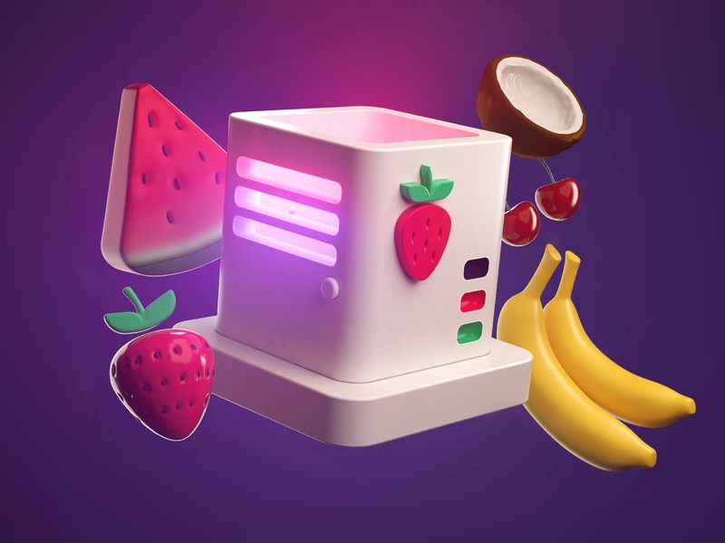 Fruit Proxy watermellon coconut banana fruit arnold render logo branding illustration cinema4d c4d