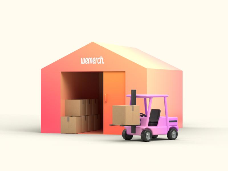 Warehouse delivery box warehouse forklift storage illustration 3d render cinema4d c4d