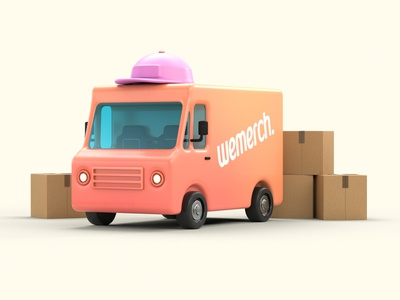 Wemerch Van c4d render arnold truck retro box delivery van 3d car
