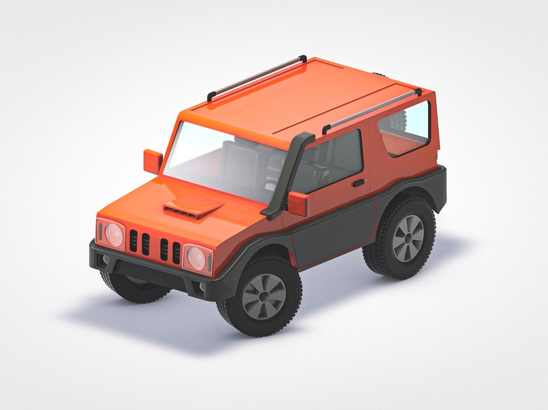 Jimny automobile jeep offroad 4x4 lego octane cinema lowpoly poly low car 3d geometrical c4d