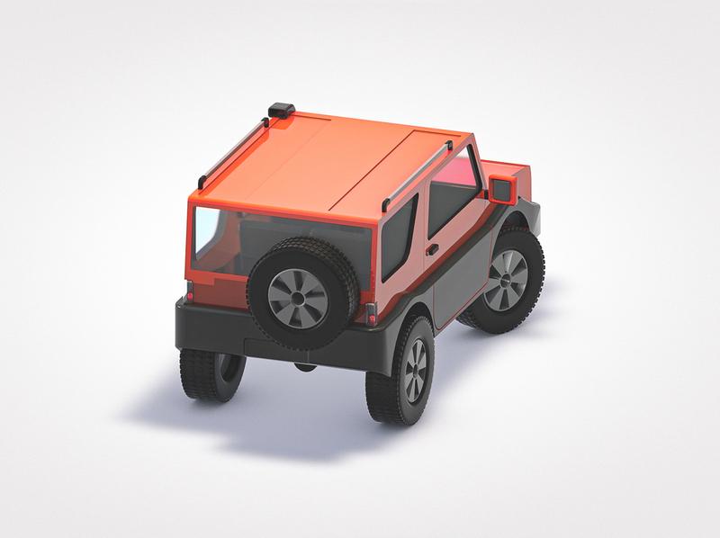 MiniThings #1 - Jeep (backshot) lowpoly low cartoon offroad jeep car illustration render 3d geometry geometrical cinema4d c4d