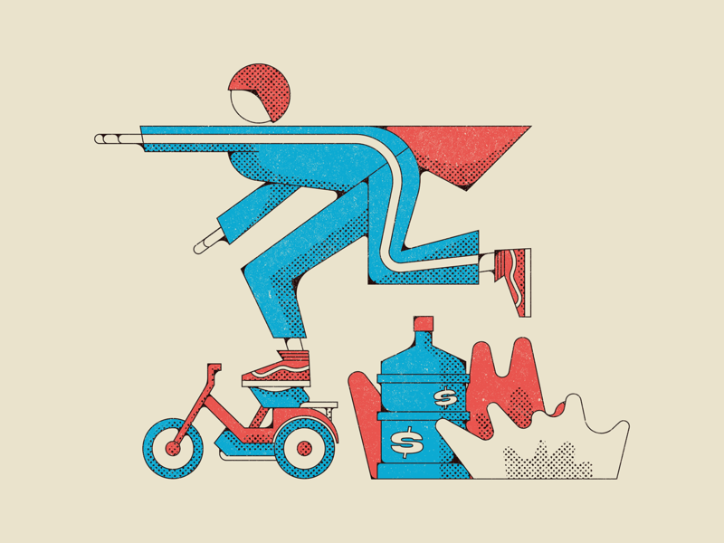 Rod Kimble, Stuntman. lonely island film illustration moped bike hot rod rod movie