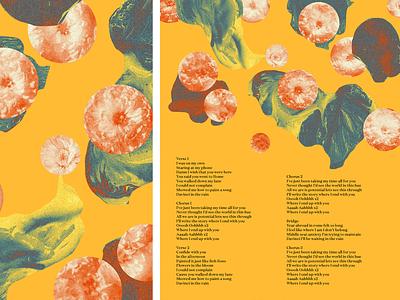 Lyric Sheet paint flowers sun collage vinyl merch label da vinci honeyboys lyrics band msuic