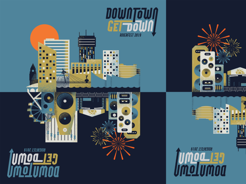 Riverfest Poster Submission texture invert fireworks carnival music festival wichita skyline city poster