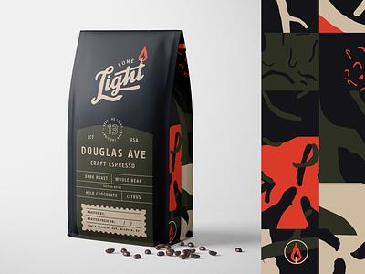 Lone Light Roasters wichita grid pattern flame light packaging coffee