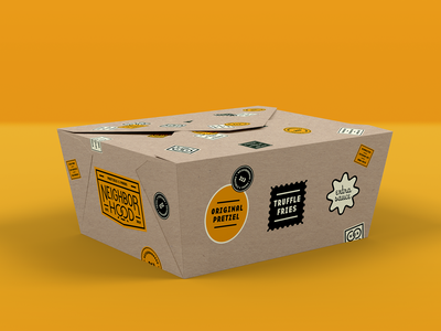 Neighborhood To-Go Box food truck los angeles identity system neighborhood pretzels food packaging type logo