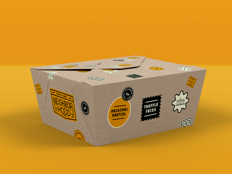 Neighborhood To-Go Box food truck los angeles identity system neighborhood pretzels food packaging type logo