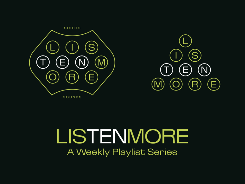 LISTEN MORE logotype experimental music playlist ten more tent listen more