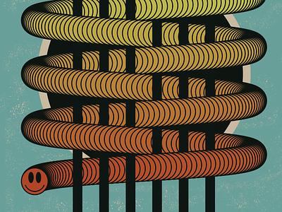 Squiggly Guy blend color string work snake illustration