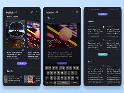 N E W S (WIP) read save favorite theme ux page trending article news ui