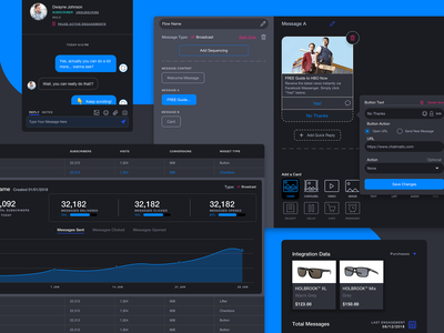 Chatbot Builder - Dark Theme messanger subscribe chart graph customer message chatbot chat clean dashboard design ux ui