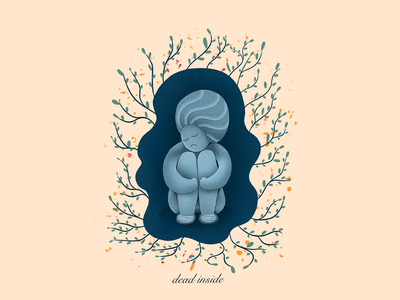 Dead Inside character surrealism flat illustration vector moodswings moody depressed depression mental health awareness mental health dead inside character design procreate illustration