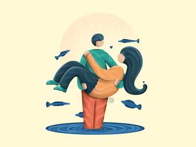 In My Hands hero image fishes surrealism couplegoals couple illustration couples lovers love flat illustration vector ipadart character design procreate illustration