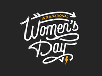 International Women's Day badge monoline illustration womens day strong women lockup typography hand type lettering international womens day