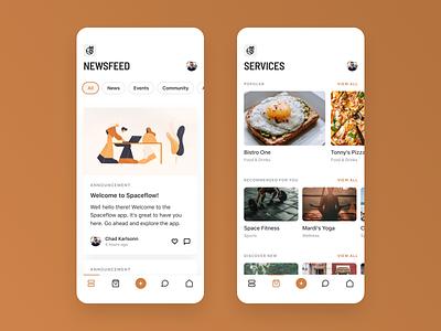 iOS App - Spaceflow illustrations carousel layout clean minimal app ios ui