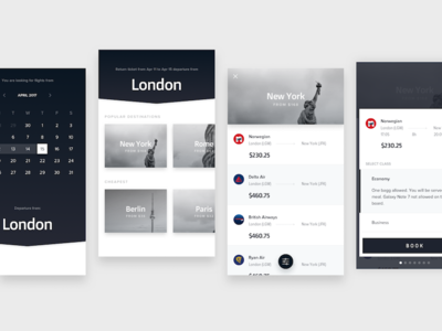 Flights UI Concept pt. 2 flights ui animation after effects clean bw motion calendar list view