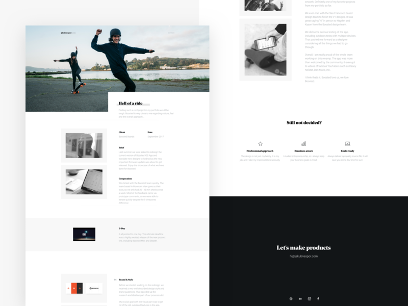 Case Study - Boosted Boards minimal design typography offset layout web landing page electric skateboard personal website case study boosted boards