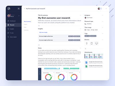 User Research Platform - Exploration ux ui design ui design user interface uxdesign web app app interface dashboard user experience