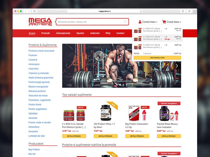 Megaproteine.ro megaproteine user interface redesign ux ui design website