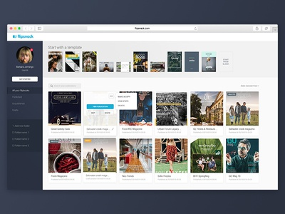 FlipSnack - My collections ui user interface ux flipsnack design website dashboard