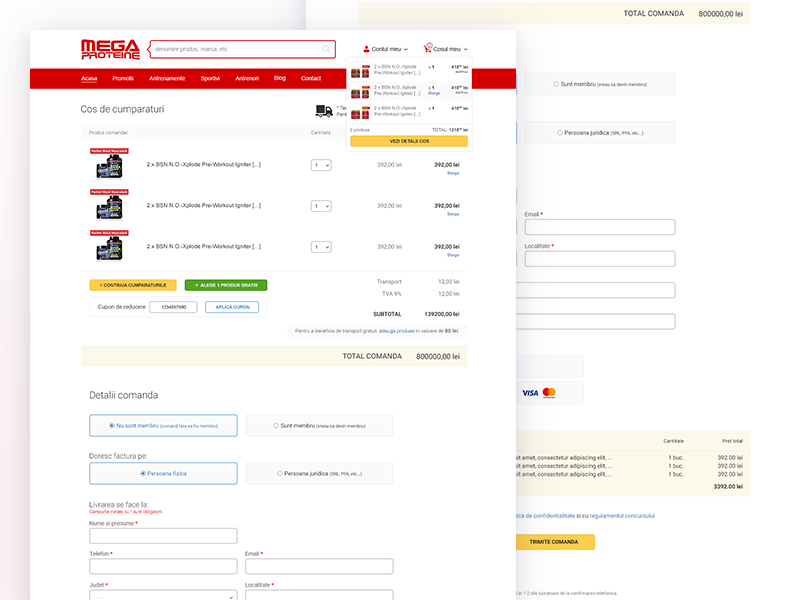 Megaproteine.ro - Checkout website design ui ux redesign user interface
