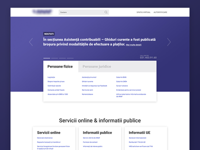 Homepage redesign Romanian Agency for Fiscal Administration