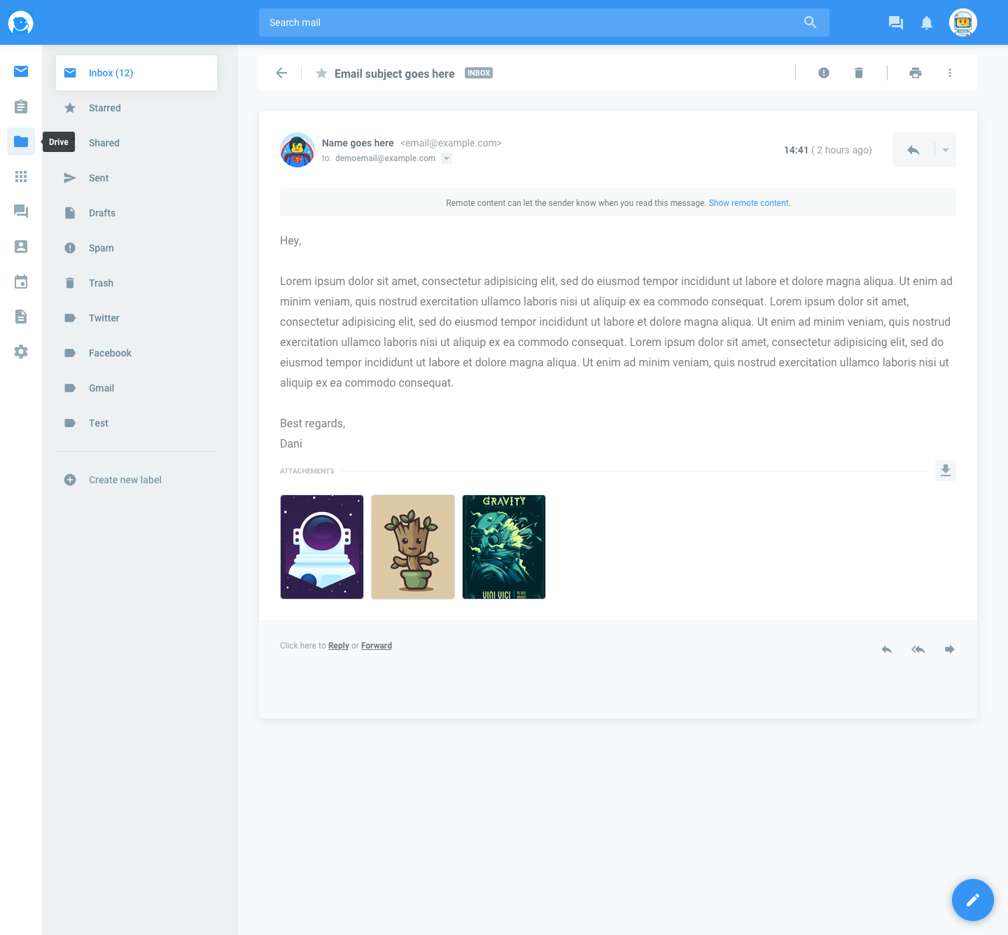 Dokymail   open email
