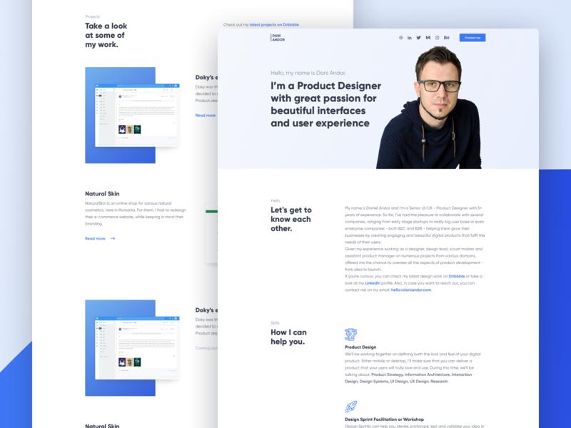 daniandor.com - portfolio portfolio web design homepage user interface website design ux ui