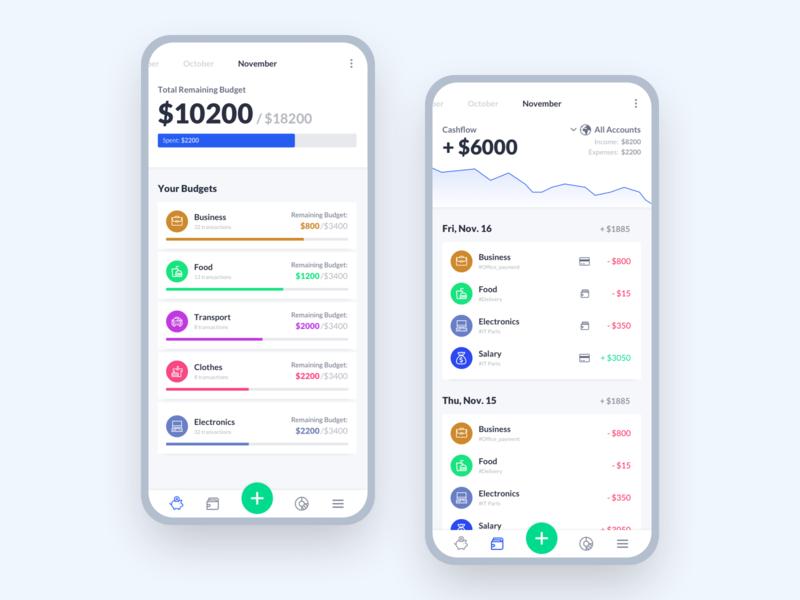 Budget Planner mobile app concept mobile design app user interface ux ui
