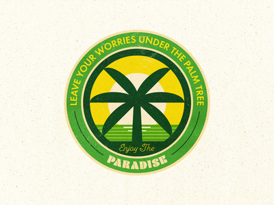 Palm Tree Summer Badge beach paradise palm tree badge label summer