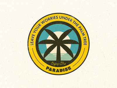 Palm Tree Summer Badge sun palm tree sunset ocean beach paradise label badge summer