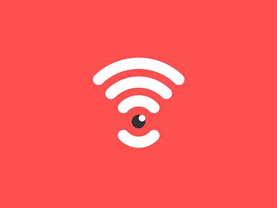 Wifi Eye  logo flat wifi icon