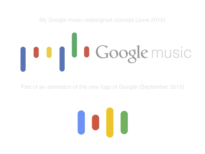Google music concept Vs. New Google logo music flat concept redesign google